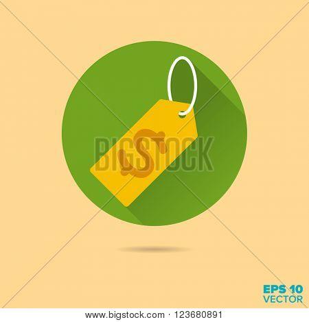 dollar price tag flat design vector icon