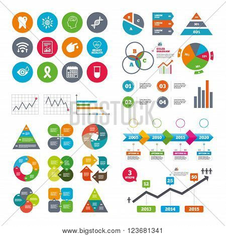 Wifi, calendar and web icons. Medicine, medical health and diagnosis icons. Blood test, dna and neurology signs. Tooth, report symbols. Diagram charts design.