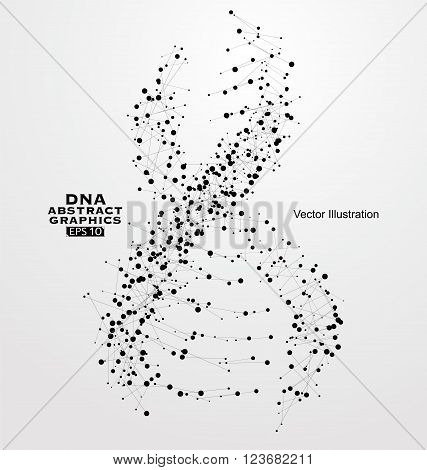 DNA abstract graphics consisting of points and lines.
