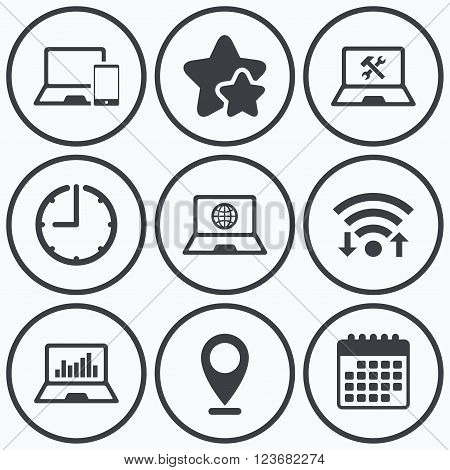 Clock, wifi and stars icons. Notebook laptop pc icons. Internet globe sign. Repair fix service symbol. Monitoring graph chart. Calendar symbol.