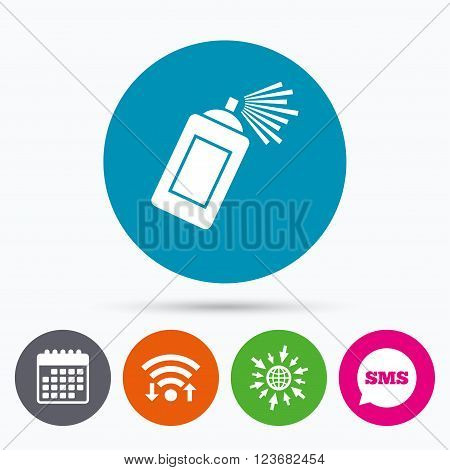 Wifi, Sms and calendar icons. Graffiti spray can sign icon. Aerosol paint symbol. Go to web globe.