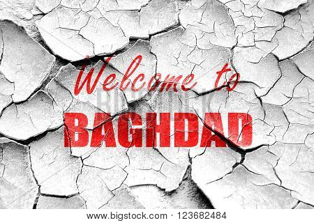 Grunge cracked Welcome to baghdad with some smooth lines