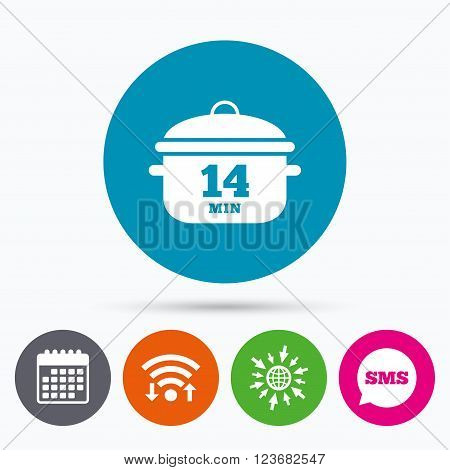 Wifi, Sms and calendar icons. Boil 14 minutes. Cooking pan sign icon. Stew food symbol. Go to web globe.