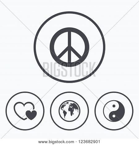 World globe icon. Ying yang sign. Hearts love sign. Peace hope. Harmony and balance symbol. Icons in circles.