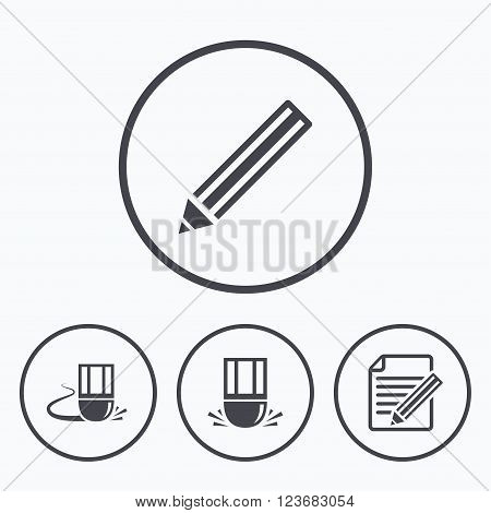Pencil icon. Edit document file. Eraser sign. Correct drawing symbol. Icons in circles.
