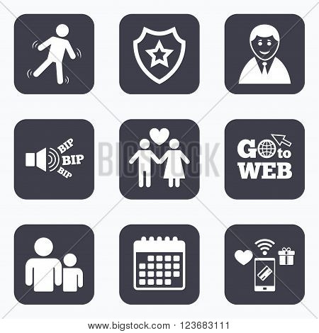 Mobile payments, wifi and calendar icons. Businessman person icon. Group of people symbol. Man love Woman or Lovers sign. Caution slippery. Go to web symbol.