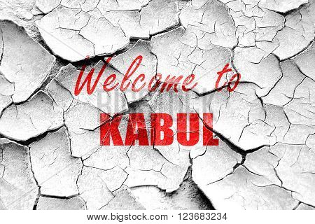 Grunge cracked Welcome to kabul with some smooth lines