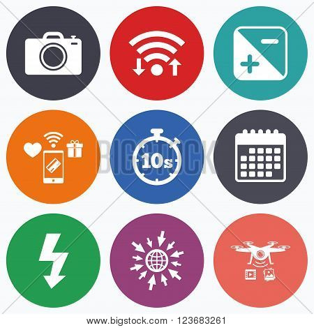 Wifi, mobile payments and drones icons. Photo camera icon. Flash light and exposure symbols. Stopwatch timer 10 seconds sign. Calendar symbol.