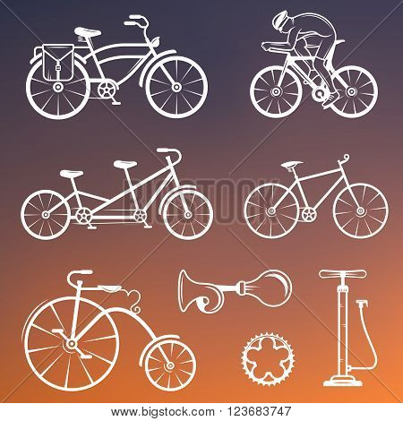 Set of vintage modern and retro logo sign icons and silhouette bicycle pro bike and equipment. Cycling typography sign for old emblems - Stock Vector