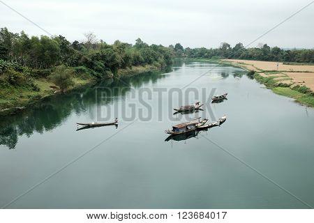 Landscape, Row Boat,  River, Poor Vietnam