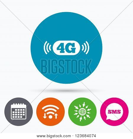 Wifi, Sms and calendar icons. 4G sign icon. Mobile telecommunications technology symbol. Go to web globe.