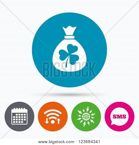Wifi, Sms and calendar icons. Money bag with three leaves clover sign icon. Saint Patrick trefoil shamrock symbol. Go to web globe.