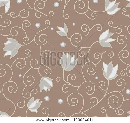 Example of flowers for fabric, brown color, seamless structure, a graphic element of design, a petal of the blossoming flower, plants interwoven into a sample, botanical ornament