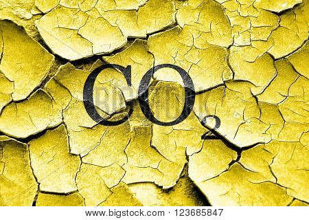 Grunge cracked CO2 warning sign with yellow and black colors