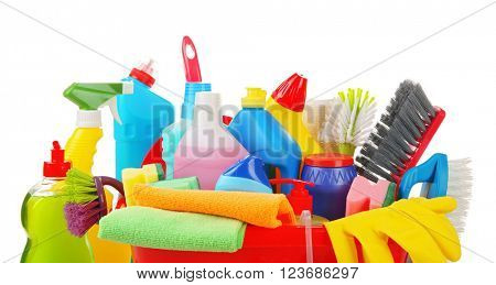 Basin of cleaning supplies on the floor