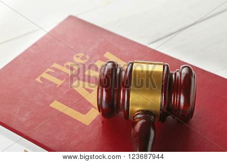 Gavel on Law book closeup