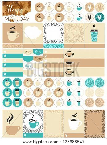 Printable Coffee Planner Stickers. File is for 8.5 X 11 inch.