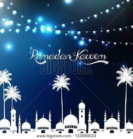 Illustration of Ramadan kareem with mosque and palm tree