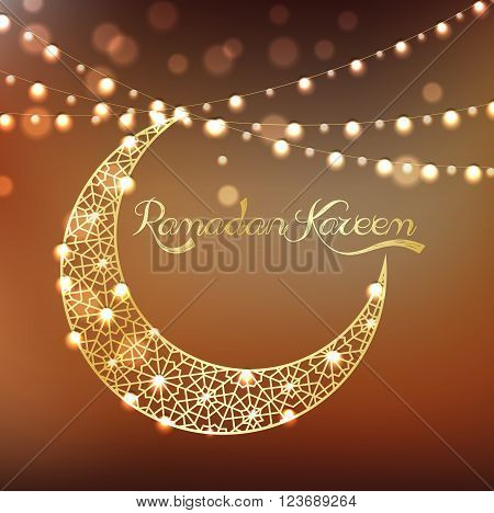 Illustration of Golden crescent moon on bokeh background