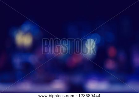 Blurred photo of a stage with musical instruments