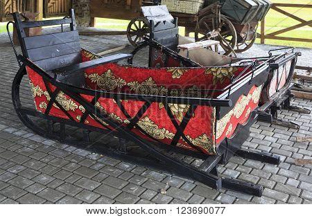 Novotyryshkino, Russia - July 31, 2013: Winter sleigh supply. Peasant Museum in Tourist Complex Siberian Podvorye.