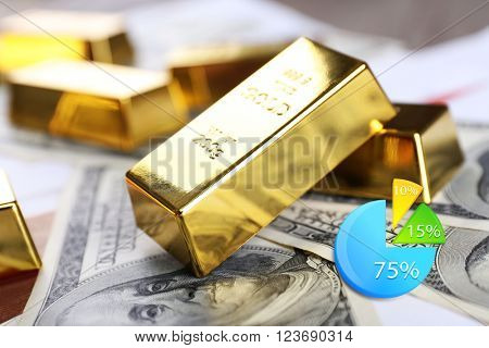 Business accounting concept. Gold bars with dollar banknotes