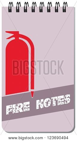 Notepad for employee Fire Station - Fire notes. Vector illustration.