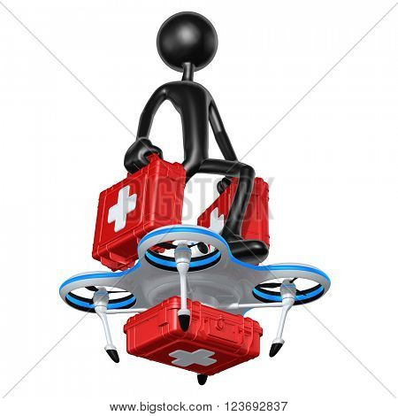 Aerial Medical Supply Drone 3D Illustration Concept
