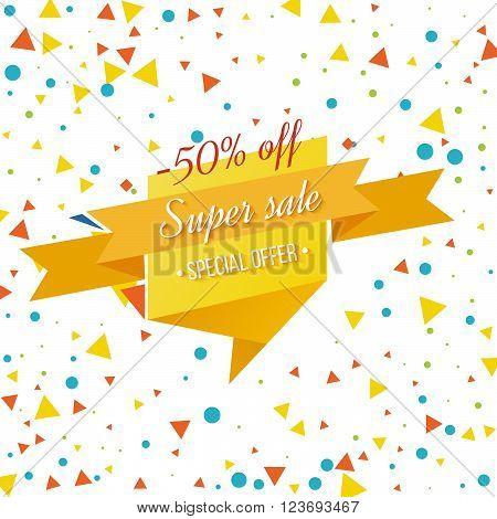 Super Sale banner on colorful background. Geometric design. Super Sale and special offer. Vector illustration.