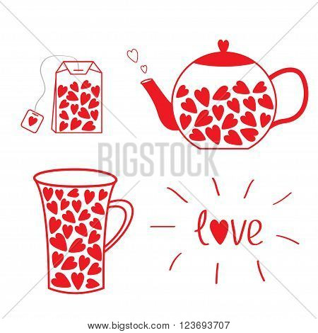 Tea set collection with hearts. Teabag teacup and teapot. Love card. Vector illustration.