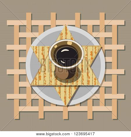 Happy Passover poster, card. Matzah, wine for Passover, Pesach celebration. Idea for greeting card with kosher matza onssover holiday, decoration, invitation for seder dinner. Vector illustration.