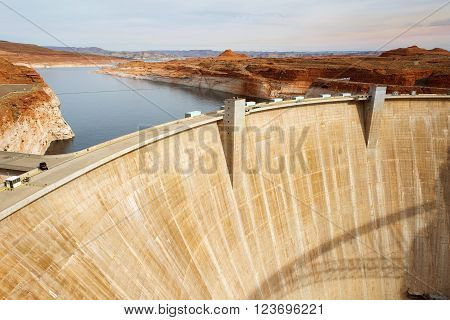 Glen Canyon Dam, concrete arch dam on the Colorado River in northern Arizona in the United States, near the town of Page