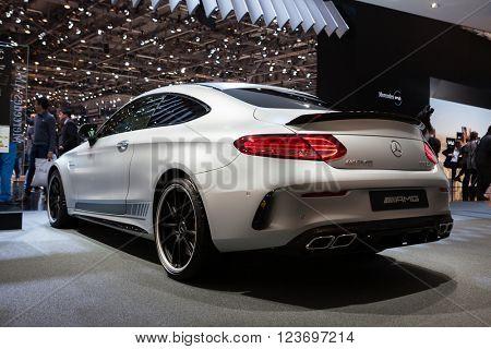 GENEVA, SWITZERLAND - MARCH 1: Geneva Motor Show on March 1, 2016 in Geneva, Mercedes-AMG C 63 S Coupe, rear-side view
