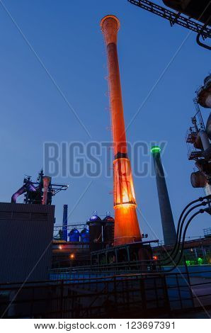 Duisburg, Germany - May 18, 2015: Nocturnal shot of Landschaftspark Nord illuminated industrial plant in Duisburg Germany. Landschaftspark is a public park located in Duisburg-Meiderich, Germany.