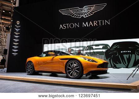 GENEVA, SWITZERLAND - MARCH 1: Geneva Motor Show on March 1, 2016 in Geneva, Aston Martin DB11, front-side view