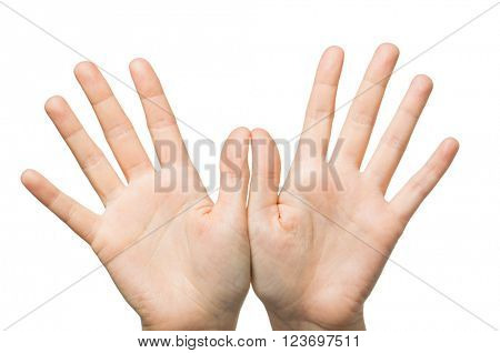 gesture, people and body parts concept - close up of two hands showing palms and fingers