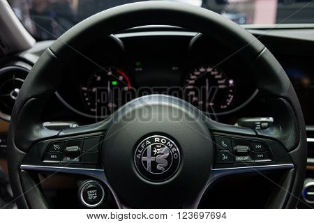 GENEVA, SWITZERLAND - MARCH 1: Geneva Motor Show on March 1, 2016 in Geneva, Alfa Romeo Giulia, interior view