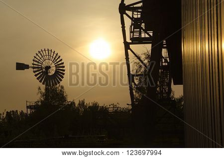 Farm scene with windmill and trees sunset