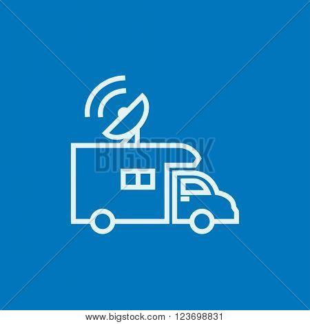 Broadcasting van  line icon.