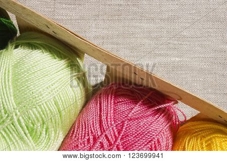 Set for knitting yarn in a basket