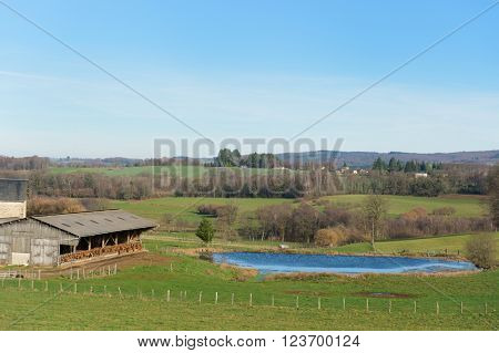 French landscape in Lomousin with cows in stable