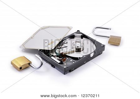 Hard disk protection opened on a white background