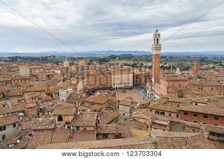 Torre Del Mangia And Piazza Del Campo