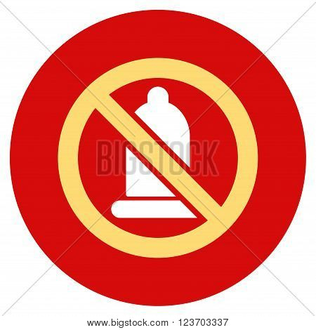 Forbidden Condom vector icon. Image style is a flat light icon symbol on a round red button