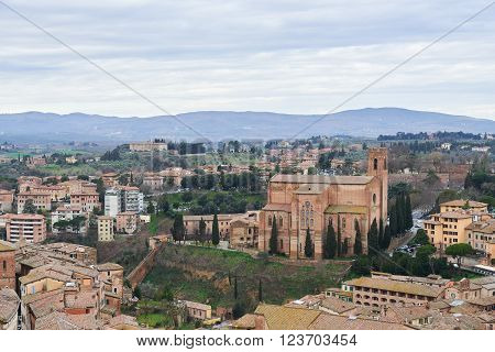 Basilica of San Domenico (Basilica Cateriniana), a basilica church in Siena, Tuscany, Italy. View from the Campanile del Mangia.