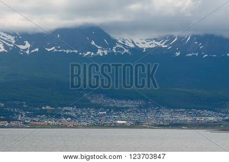 View of Ushuaia, Tierra del Fuego, Argentina. Cloudy. Ushuaia is the capital of the Argentine province of Tierra del Fuego.