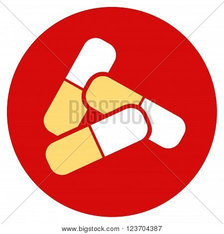 Pills vector icon. Image style is a flat light icon symbol on a round red button