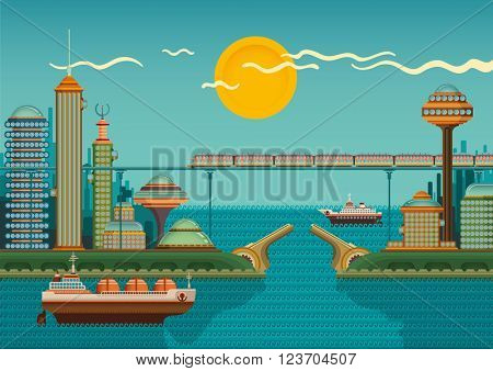 Modern city by the sea. Vector illustration.