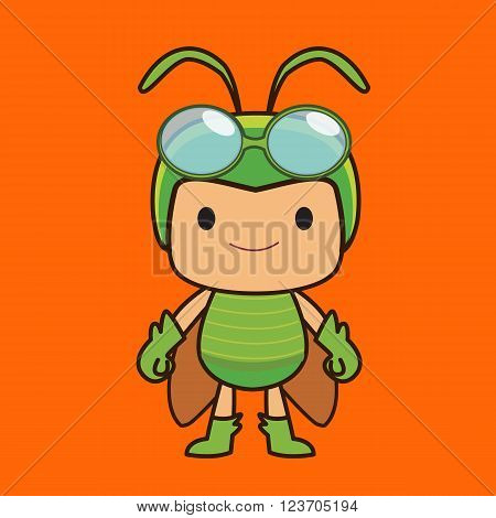 Green grasshopper boy cartoon character on orange background