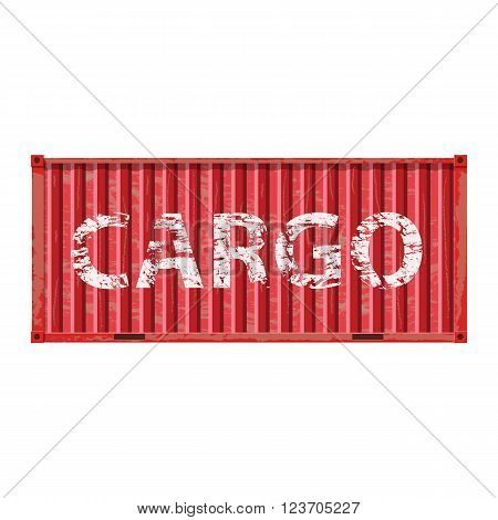 Freight shipping, metall red cargo container. logistics and transportation. Vector illustration isolated on white background